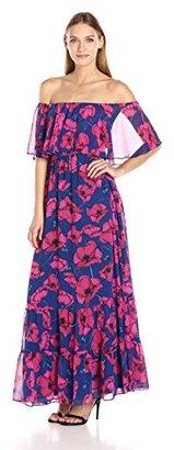 Donna Morgan Women's Off Shoulder Floral Chiffon Maxi $148 thestylecure.com