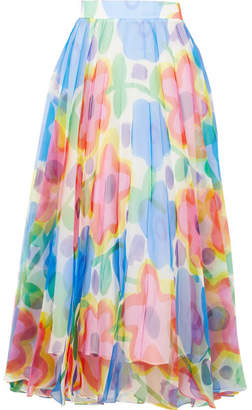 Christopher Kane Pleated Floral-print Organza Maxi Skirt - Blue