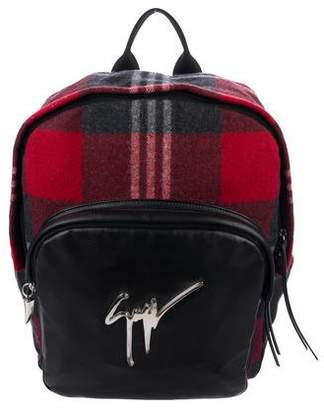 Giuseppe Zanotti Plaid & Leather Backpack