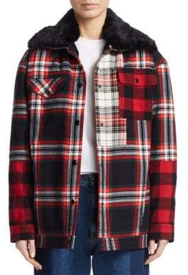 McQ Faux Fur Trimmed Flannel Jacket