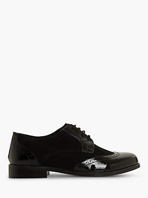 Dune Foxxy Wide Fit Lace Up Brogues, Black Leather Mix