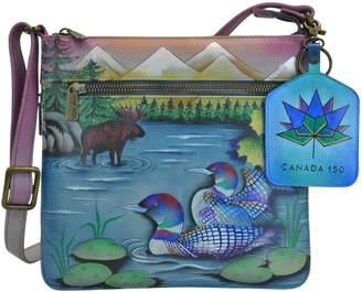 Anuschka Hand Painted Designer Leather Handbags for Women – Christmas Gifts- Expandable Travel Cross Body (Canadian Escape 550 CES)