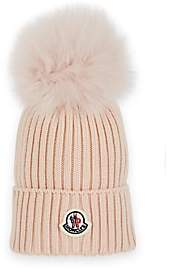 Moncler Kids' Fur-Trimmed Wool Beanie - Pink