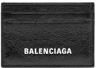 Balenciaga Explorer Logo Debossed Leather Card Holder - Mens - Black