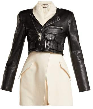 Alexander McQueen Leather Biker Suit Jacket - Womens - Black White