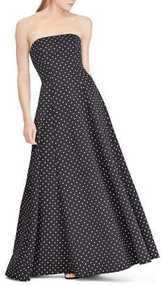 Ralph Lauren Polka-Dot Faille Gown