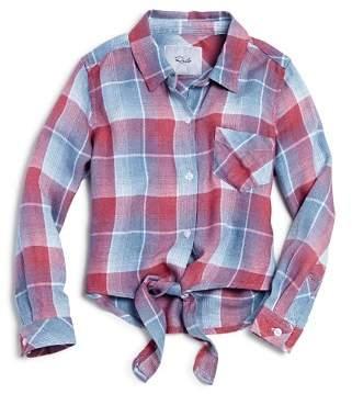 Rails Girls' Valerie Tie-Front Plaid Shirt - Little Kid, Big Kid