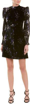 Rebecca Taylor Violet Velvet Silk-Blend A-Line Dress