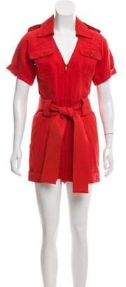 Diane von Furstenberg Tie-Accented Short Sleeve Romper