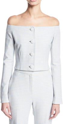 Brock Collection Jackie Off-the-Shoulder Gingham Suiting Jacket