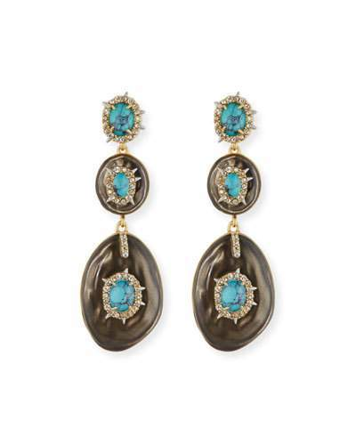Alexis Bittar Alexis Bittar Liquid Crystal Three-Drop Earrings, Gray/Turquoise