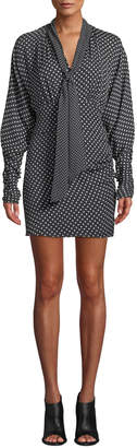 Joie Etha Polka-Dot Tie-Neck Short Dress