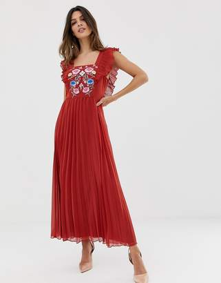 96a192b1dcf1b Asos Design DESIGN pleated embroidered square neck skater midi dress