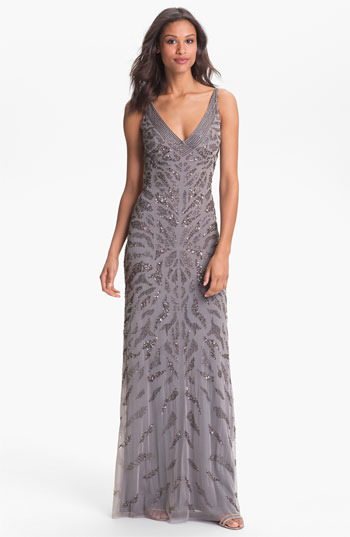 Adrianna Papell Embellished V-Neck Mesh Gown