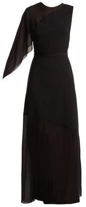 Lanvin Asymmetric Draped Sleeve Silk Blend Gown - Womens - Black