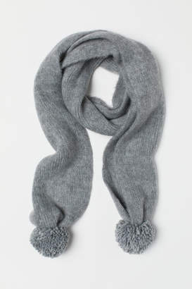 H&M Scarf with Pompoms - Gray
