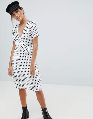 Missguided Polka Dot Midi Dress