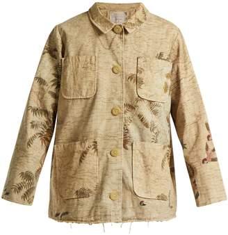 BY WALID Hazy-Jungle print cotton-canvas jacket