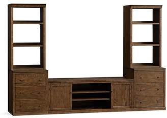 Pottery Barn Logan Media Suite with Drawer Bookcase