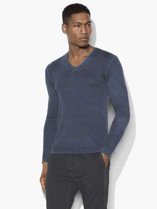 John Varvatos Reverse Print V Neck Sweater