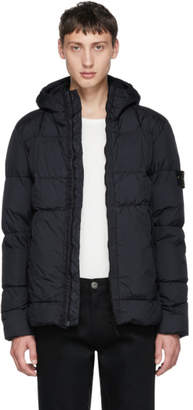 Stone Island Navy Down Hooded Jacket