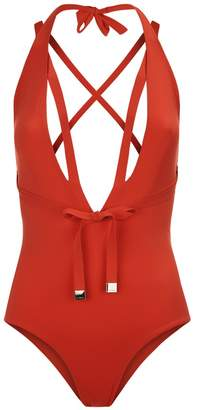 cad11886eada7 La Perla Aquamarine Tango Red Plunging Halter-Neck Swimsuit With Waist Ties