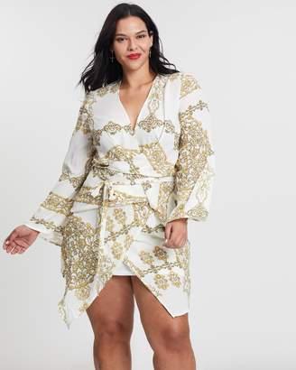 Chain Print Tie-Front Mini Dress