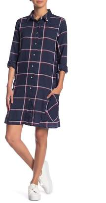 Dex Plaid Long Sleeve Button Down Dress