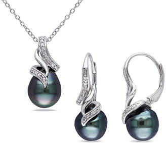 FINE JEWELRY 1/10 CT. T.W. Diamond & Black Tahitian Pearl Sterling Silver Necklace and Earring Set