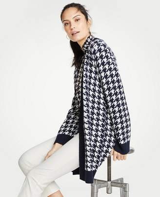 Ann Taylor Houndstooth Open Cardigan