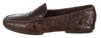 Ralph Lauren Purple Label Embossed Round-Toe Loafers Brown Embossed Round-Toe Loafers