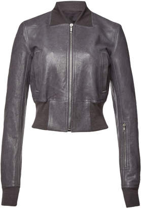 Rick Owens Leather Bomber Jacket with Ribbed Trim