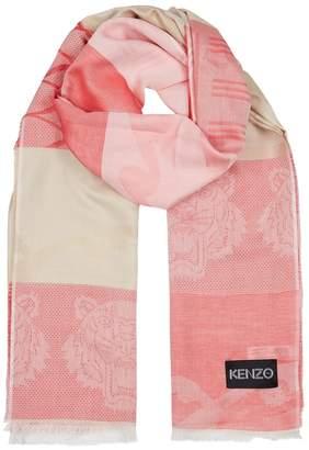 Kenzo Logo-jacquard Silk-blend Scarf
