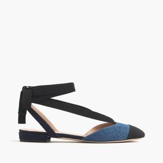 Denim ankle-wrap flats $138 thestylecure.com