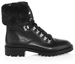 Rebecca Minkoff Women's Jaylin Fox-Fur Trim Leather Combat Boots