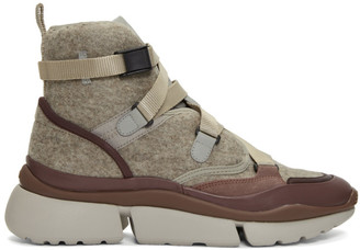 Chloé Brown and Grey Wool Sonnie High-Top Sneakers