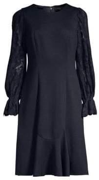 Elie Tahari Women's Lizzie Lace-Sleeve Knit Dress - Navy - Size 6