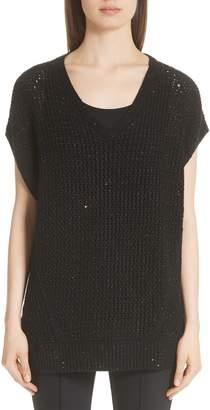 Lafayette 148 New York Metallic Wool, Silk & Cashmere Blend Sweater