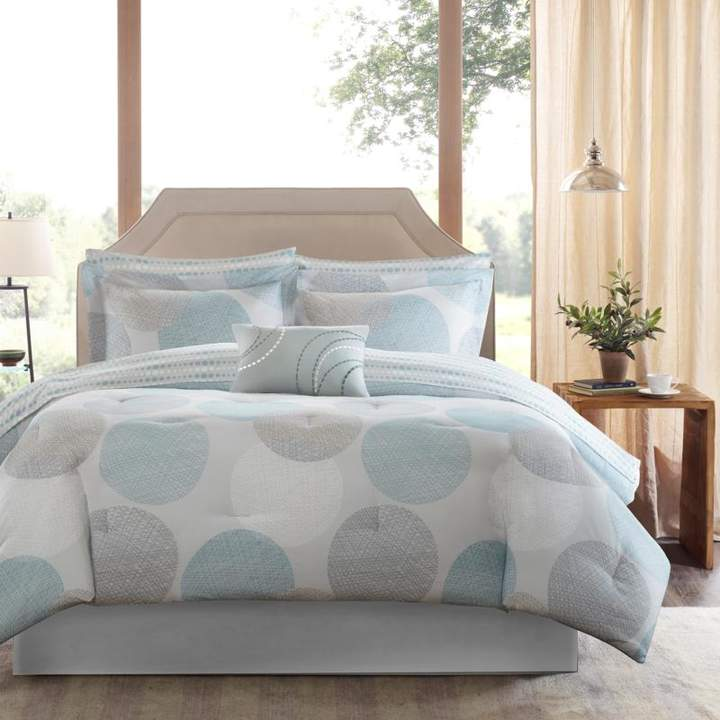 Madison Park Knowles Twin 7-Piece Complete Bed and Sheet Set - Aqua