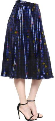 Ingie Paris Floral Print Pleated Silk Satin Skirt