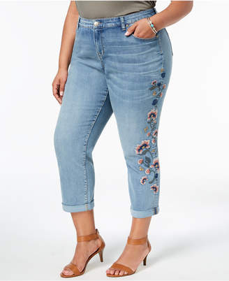 Style&Co. Style & Co Plus Size Embroidered Curvy Boyfriend-Fit Jeans, Created for Macy's