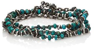 M. Cohen Men's Beaded Cord & Oval-Link-Chain Wrap Bracelet