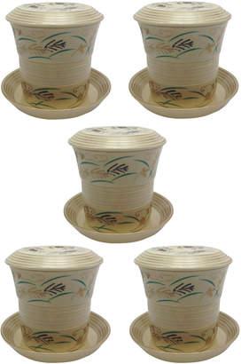 Japanese Porcelain 武蔵野 台付むし碗 5点セット
