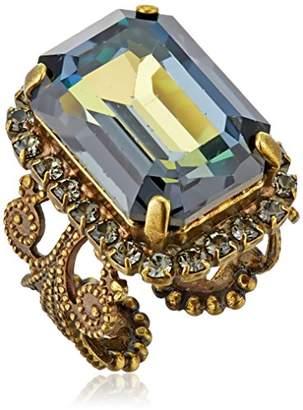 "Sorrelli Crystal Patina"" Petite Emerald-Cut Adjustable Ring"