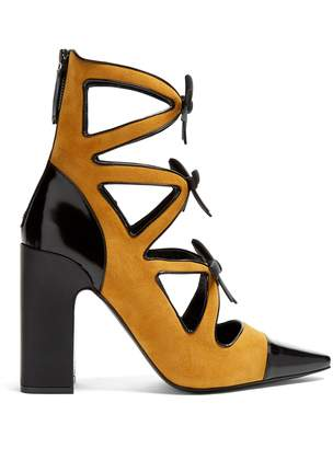 FABRIZIO VITI Take A Bow block-heel suede ankle boots