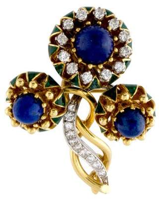 18K Lapis Lazuli, Diamond & Enamel Brooch