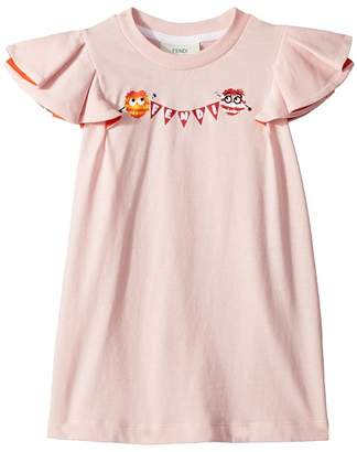 Fendi Ruffle Sleeve Logo Pom Pom Graphic T-Shirt Girl's T Shirt