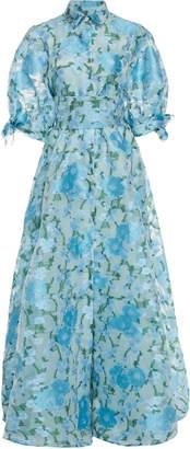 Luisa Beccaria Short Sleeve Floral Jacquard Dress