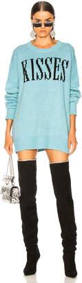 Amiri Kisses Oversized Sweater in Light Blue & Black | FWRD