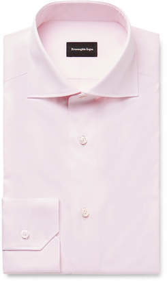 Ermenegildo Zegna Pale-Pink Cutaway-Collar Cotton-Twill Shirt